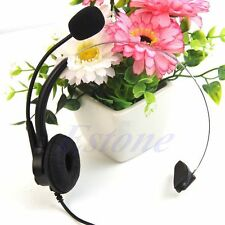 4-Pin RJ11 Monaural Corded Operator Call Center Telephone Headset Headphone BK
