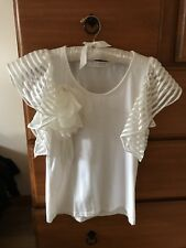white lace ruffle flare sleeve top shirt floral pin