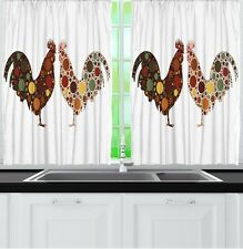 Rooster Kitchen CURTAIN PANEL Set Chickens Farm Fowl Barnyard Window Art Decor