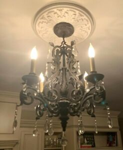 "Chandelier Hang Ceiling Crystal Pendants 4 Light Fixture Foyer Dining Living 21"""