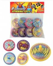 Bulk Wholesale Job Lot 36 Packs of 8 Super Hero Spinning Tops Toys Party