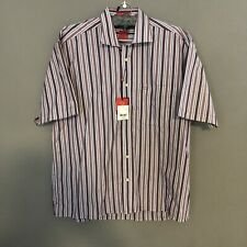Oscar De La Renta Large Purple Blue Striped Shirt Button Down NWT