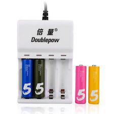 4 Bays Akku-Ladegerät für AA AAA NiMh NiCd wiederaufladbare USB-Ladegerät Weiß