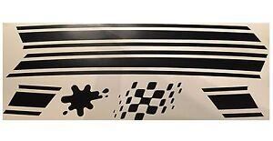 Side Panel Stripes Sticker Kit fits Lambretta GP Flag Splat Decal Matt Black ST9