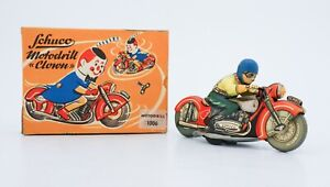 Schuco tin toy motorcycle - Motodrill Clown Clockwork Wind-up with Original Box