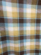 GOLD BROWN Plaid 100% Linen Fabric (60 in.) Sold By The Yard