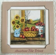 ABSORBENT TILE TRIVET STONE Apples/Sunflowers T-130