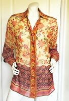 GORGEOUS ORIGINAL ELLEN TRACY SHEER SILK FLORAL PRINT BLOUSE  SIZE: 6