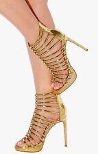 Metallic Mirror Strappy Caged Stiletto Exotic High Heels Gladiator Sandals H187
