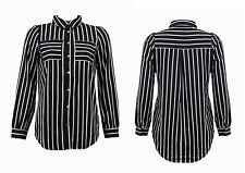 Unbranded Women's Striped Long Sleeve Sleeve Collared Tops & Shirts