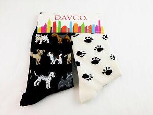 Dog Lover's Socks Set Of Two Pairs Ladies Size 9 To 11 Black White Crew Davco