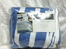 Charter Club Damask Designs Multi Stripe Blue/White Twin Comforter Cover Nip
