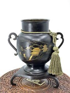 Vintage Japanese Double Handled Vase Mt Fuji Design