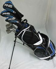 Mens Ping Golf Set Driver, Wood, Hybrid, Irons Putter Clubs Stand Bag Stiff Flex