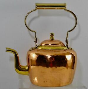 Beautiful Design Hand Hammered English Copper & Brass Tea Kettle Folding Handle