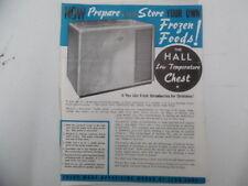 Vintage Hall Mfg Co Retail Bottle Cooler Chest Catalog Sheet Lot Cedar Rapids IA