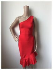 New Elegant Classic Genuine Bandage Dress Red One Off -Shoulder Size 12-14