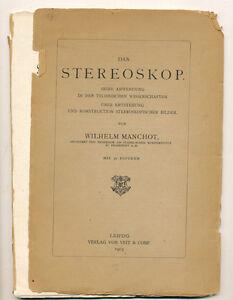 "Wilhelm Manchot libro ""Das Stereoskop"" in tedesco 1903 D736"