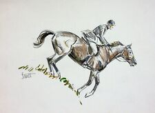 ORIGINAL COLORED PENCIL DRAWING OF WOMAN GALLOPING HORSE DOWNHILL by SAM SAVITT