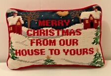Vintage Needlepoint Merry Christmas from Our Home to Yours Pillow Cushion Home