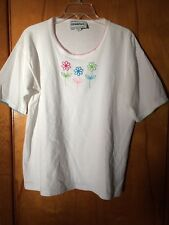 Vintage Starfire Brand White Embroidered Flowers T-Shirt Top Size 14