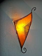 Applique fer forgé et peau Marocaine orientale lampe lustre lanterne orange 3