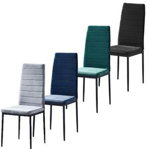 Set of 2/4/6 Velvet Dining Chairs Metal Frame Padded Office Kitchen Dining Room