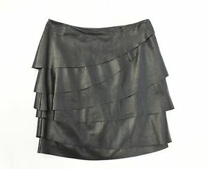 RALPH LAUREN Black Label Black Lamb Leather Tiered Skirt Sz 4 $1598