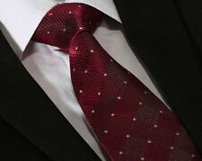 Mens Red & Yellow Polka Dot Tie - Wine Contrast Stripe - Wedding Gift FREE HANKY