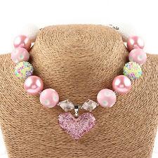 Beautiful Girls Kids Love Heart Pendant Acrylic Beaded Chunky Necklace Jewelry