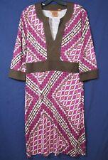 TORY BURCH Geometric LUSH SILK KNIT TUNIC DRESS Brown/Pink/Purple MINT!! Shift L