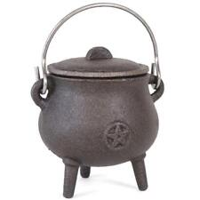 SMALL Cast Iron Witches Pentagram Cauldron Pot With Handle Wicca Pagan Gothic