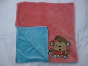 Taggies Monkey Coral Pink Turquoise Blue Flowers Soft Baby Blanket 30x40 HTF