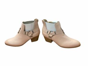 Qupid womens Harness Booties Heels Zipper in Back Blush Pink 7 New