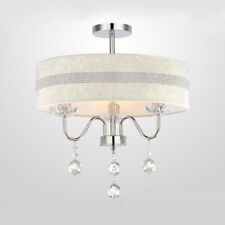 Modern Crystal Hanging Ceiling Lamp 3 Lights Fabric Shade Bedroom Chandelier