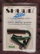 Shubb L1 Lite for Steel String in Green Aluminum NIB FREE Shipping