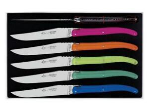 A.G David - Coffret 6 Couteaux Table Laguiole Plexi Fluo 6 Couleurs 23cm - 6680