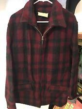 Vtg Sprung Clindinin Black & Red Plaid Wool Hunting Cabin Winter Coat 44 Calgary