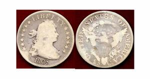 1805 25C-heraldic eagle Draped Bust Quarter ++