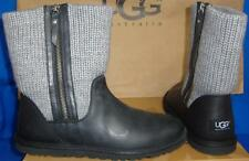 UGG Australia ROSALIE Knit Black Leather Gray Knit Boots Size US 11 NIB #1009006