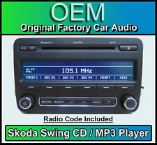 Skoda Swing CD MP3 player, Fabia car stereo headunit, Supplied with radio code