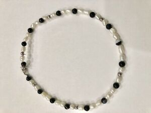 """9 1/2"""" Pearl & Black Onyx Sterling Silver Ankle Bracelet Lobster Claw Closure"""