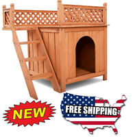 Dog House Wood Room Puppy Pet Shelter Kennel Bed Indoor Outdoor w Balcony Wooden