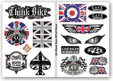 A4 Sheet Retro Cafe Racer Style Set of 12 Vinyl Car Motorcycle sticker Decals