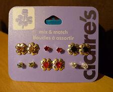 Set van 6 paar bloem strass oorbellen in meerdere kleuren