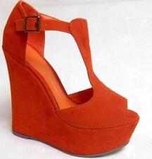 Ladies womens orange suede platform sandal shoe wedge heels u.k size 7