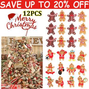 12Pcs Gingerbread Man Christmas Tree Hanging Pendant Xmas Tree Decor Ornament QN
