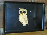"Couroc of Monterey Black Serving Tray Owl Stars 18"" x 12 3/8"" MCM USA Halloween"