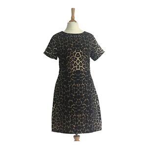 New FASHION UNION  Short Sleeved brown Beige Animal Print Midi Dress UK - 8( S)