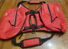 Dog Harness Vest with Removable Saddle Bags - Red